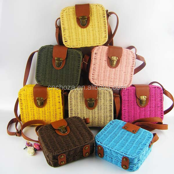 Z61111Y Hot Selling Ladies Lovely Candy Color Square Rattan Bag Women rivet Weave Straw Bags <strong>Shoulder</strong> &amp; Crossbody Bags