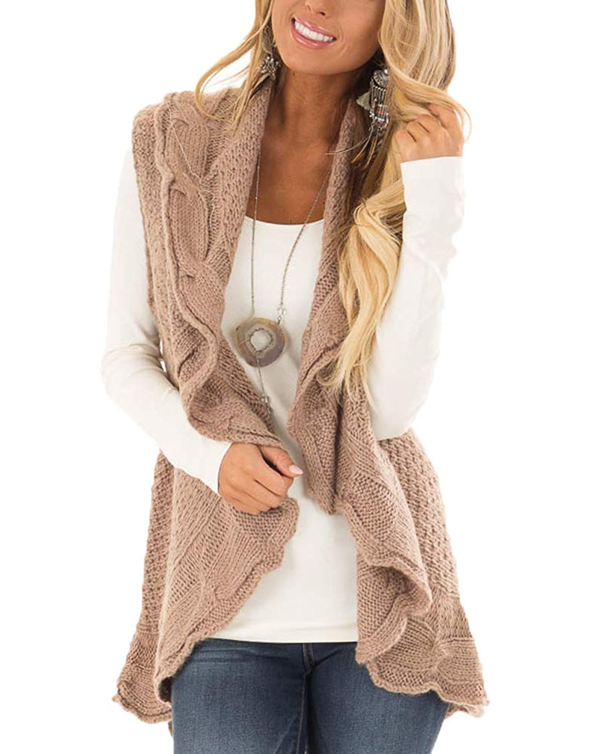 dbb6ada5358 Get Quotations · YSkkt Womens Sweater Vest Plus Size Cable Knit Open Front  Cardigans Fall Jackets Winter Coats Outwear