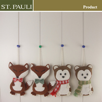 new arrival forest style 4 inch fox and hedgehog hanging ornaments gift craft for christmas