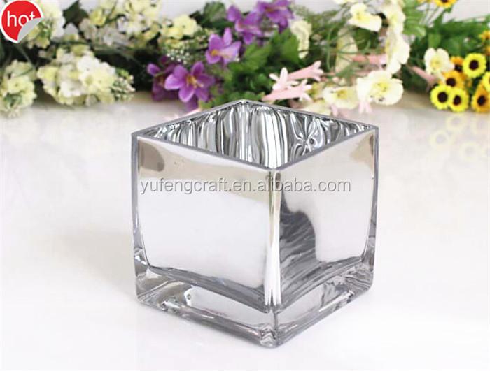 Mercurio Plata Cubo Jarrones De Cristal Al Por Mayor/al Por Garantía ...