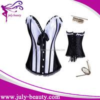 Latest design balck and white locking corset leather corset