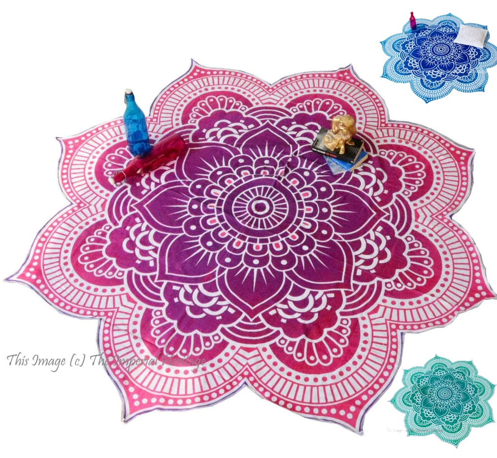 Round Mandala Beach towel Yoga Mat Table Cloth Boho Gypsy Picnic Blanket