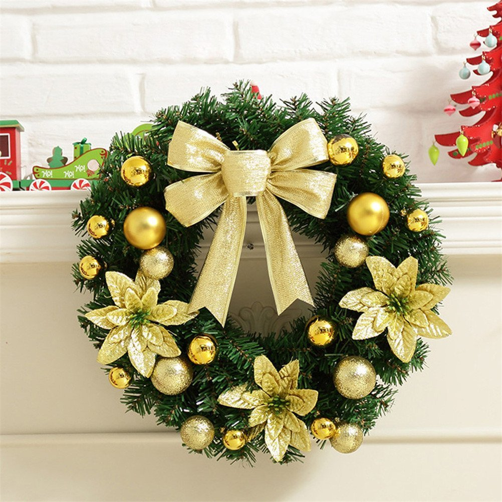 get quotations christmas wreathelaco artificial christmas holiday wreath without led light decorations gold without light - How To Decorate Artificial Christmas Wreath