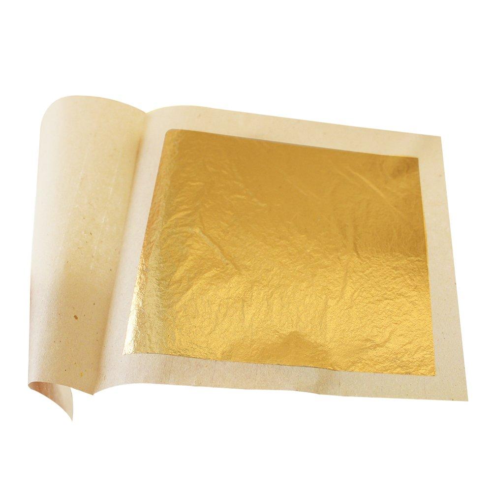 "24 Karat 1.6/"" x 1.6/"" 100 Sheets Premuim Gold Thai 100/% Pure Genuine Gold Leaf"