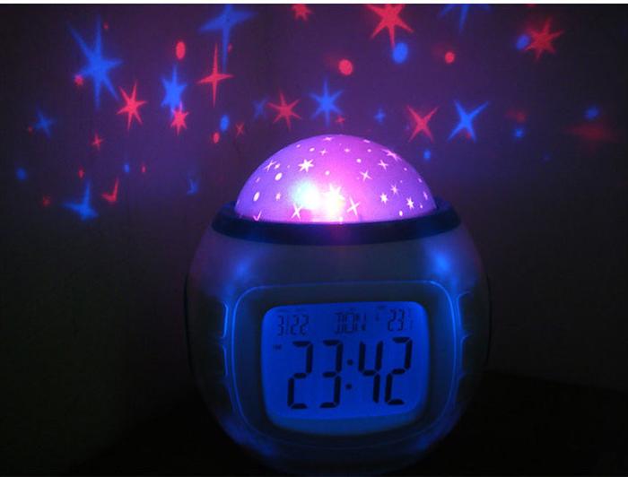 creative design starry sky led light alarm clock with. Black Bedroom Furniture Sets. Home Design Ideas