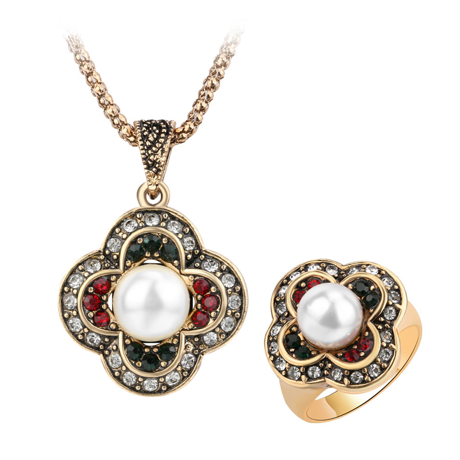 Women wedding dress accessories ring bridal jewelry sets pendant necklaces chain pearl necklace