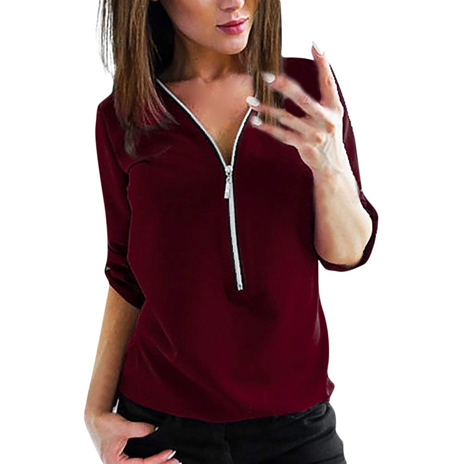 Womens Tops Long Sleeve Solid V-Neck Zipper Casual Tunic T-Shirt Blouse Shirts for Ladies Teen Girls