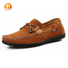 Hot selling stylish comfortable khaki flat casual loafers men shoes genuine leather