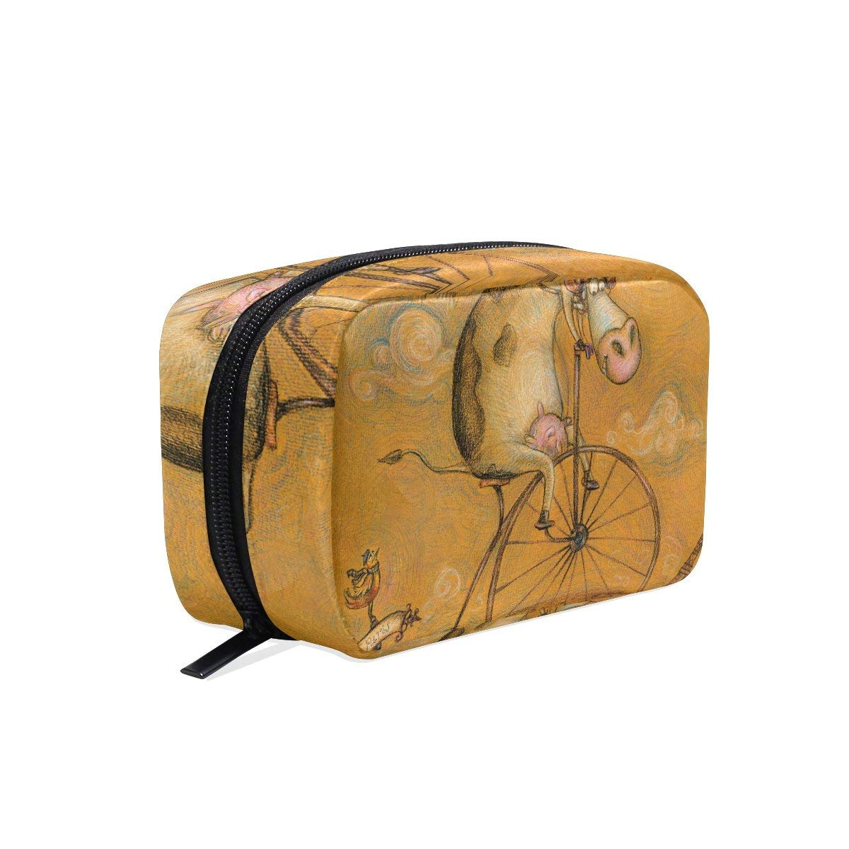 MAPOLO Vintage Cute Cow On The Bicycle Handy Cosmetic Pouch Clutch Makeup Bag Organizer Travel Bag