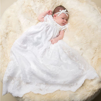 Top quality fashion christen lace long maxi baby girls wedding and christening dress