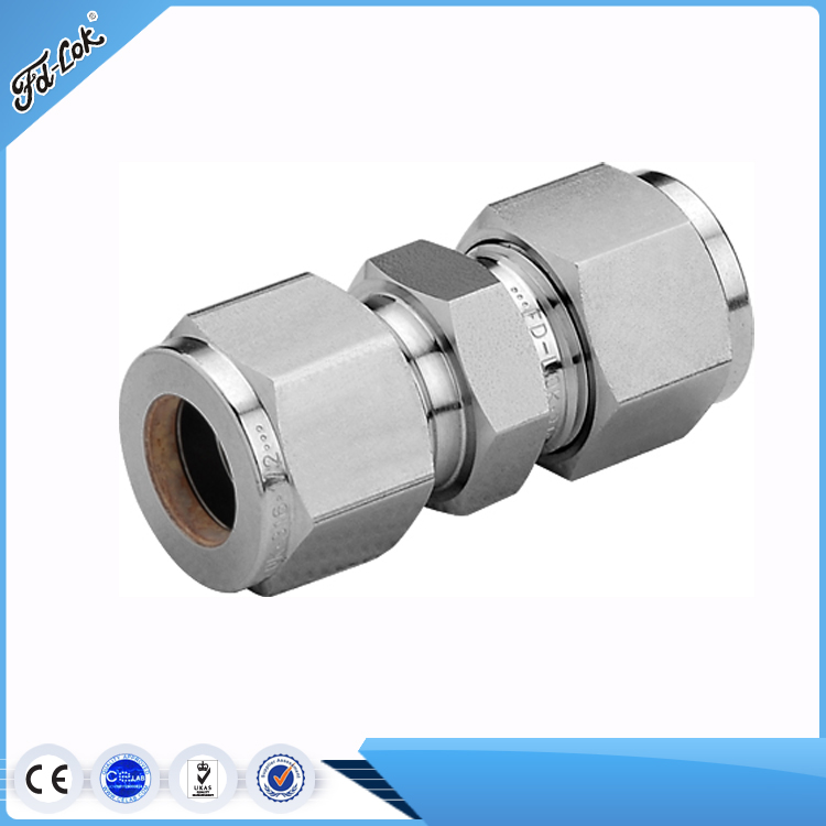 "Parker similar 3/8"" double ferrule union tube fitting for oil gas"