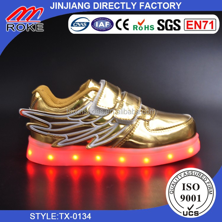PU material blink pink color casual led girls shoes with wing led kids shoes