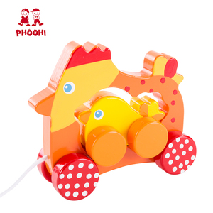 New arrival children educational hen animal wooden pull along chicken toy for kids 1+