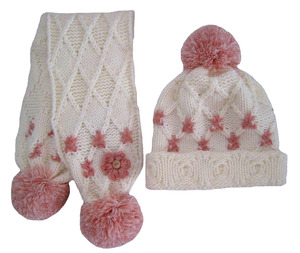 Wholesale Top Quality Knitting Pattern Baby Scarf Glove And Hat Set