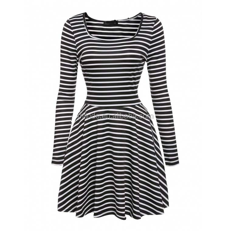 Modest America Women's Spring Summer Autumn Casual Cocktail Square Neck Long Sleeve Striped Fit and Flare Pleated Swing Dress