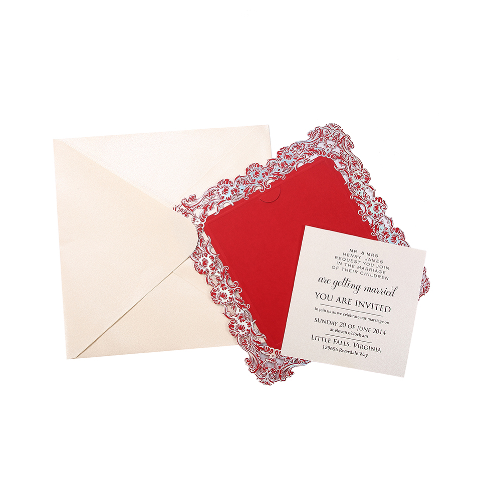 Event & Party Supplies invitation place card wedding laser cutwith embpssed and foil