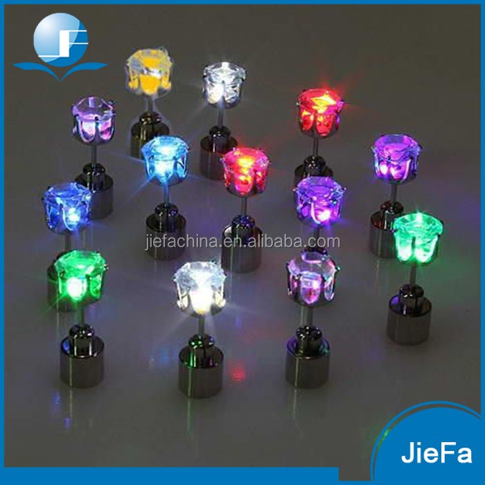 2017 Charm Light Up Glowing Crystal Stainless Ear Drop Stud Earring Jewelry Led Earrings