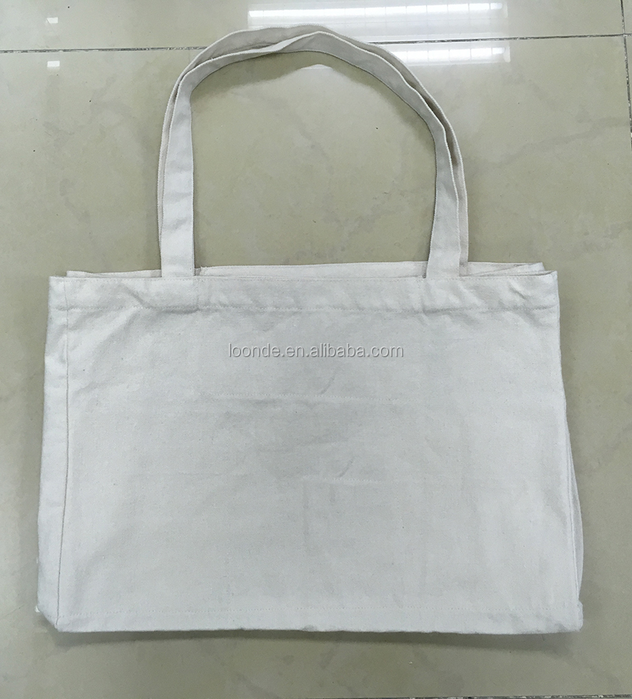 Large cotton pocket tote shopping bag with 6 large interior pockets