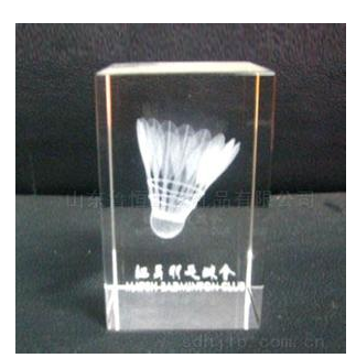 badminton gift crystal 3d laser cube new brand promotion export crystal
