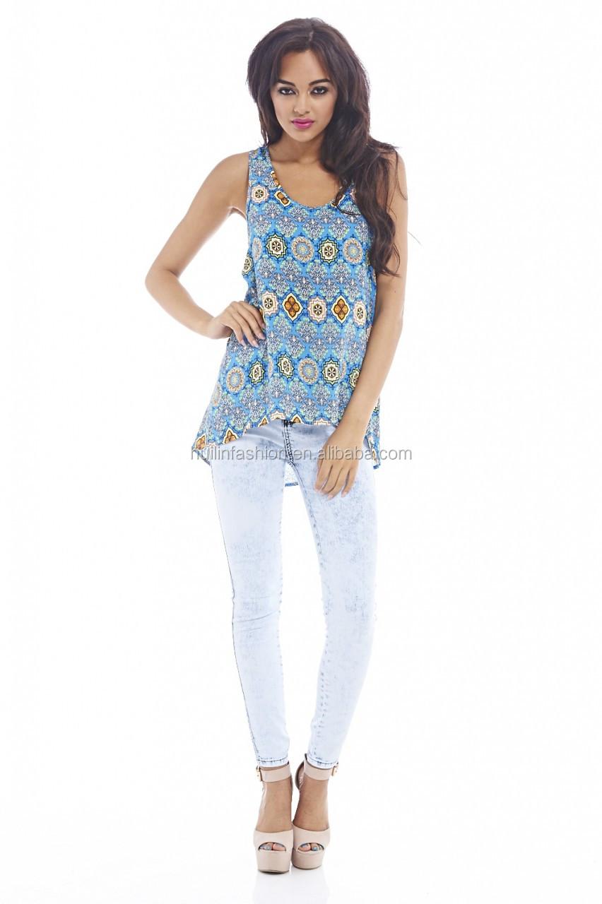 Shirt design for girl 2015 - 2015 New Design Printed Vest Sleeveless Zip Back Design Tops Designer Kurtis For Girls