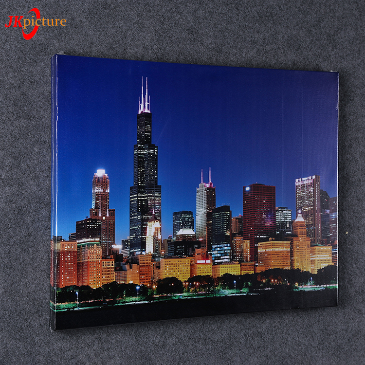 Custom design night view scenery painting artwork screen printing canvas picture