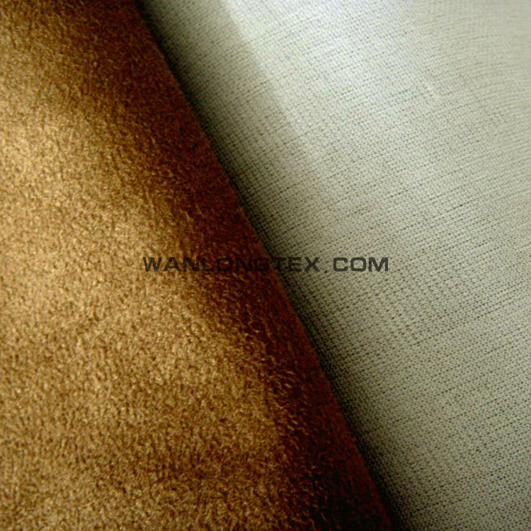 Warp faux suede with white knitting fabric for upholstery