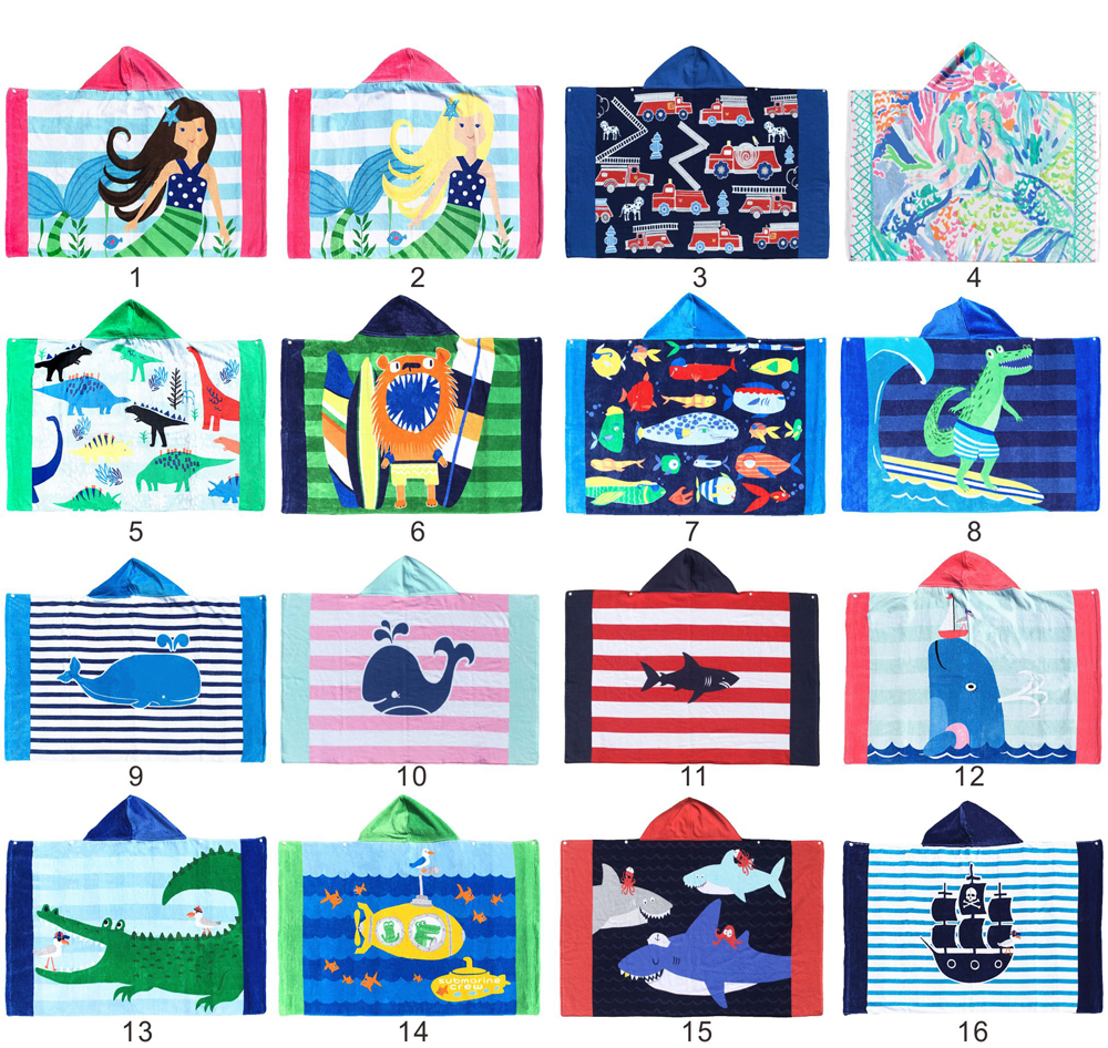 Hot sale Custom design Animal image soft 100 % organic cotton kids bath towel hooded sand free beach towel