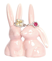 Ceramic Cute Rabbit Jewelry Holder Pink Bunny Ring Holder for Engagement and Wedding Ring Holder