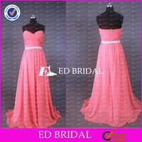 CE606 Cheap Simply Sweetheart Floor Length Red Chiffon Dress For Bridesmaid