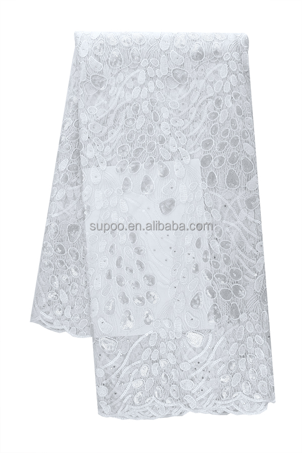 African Style Sequins French Lace Wholesale Korea Tulle Lace With Sequence For Wedding