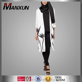 1ca0032f58 Open Abaya Print White kaftan Maxi Dress Wholesale Blouse Muslimah Print  Pattern Coat For Women Muslims