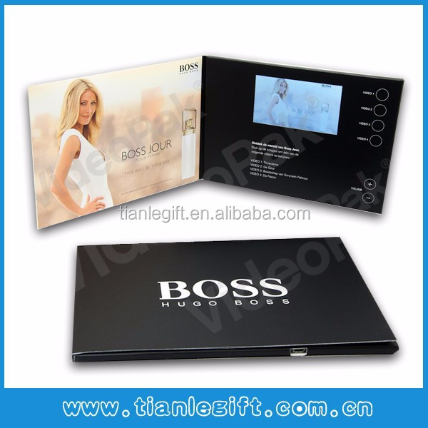 Customized 4.3inch foldable promotional video booklet and video in printing