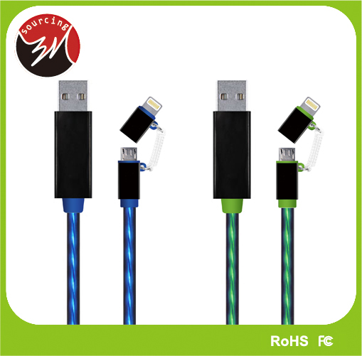 Sync Charging EL Light Tracking Cable LED MFI 8 Pin Usb To Micro Usb 2 in 1 Usb Muliti Charger Cable for iPhone Samsung