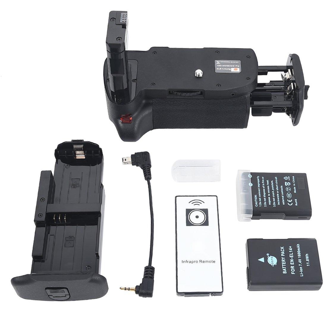 DSTE® Pro IR Remote MB-D51 Vertical Battery Grip + 2x EN-EL14 EN-EL14A for Nikon D5100 D5200 SLR Digital Camera