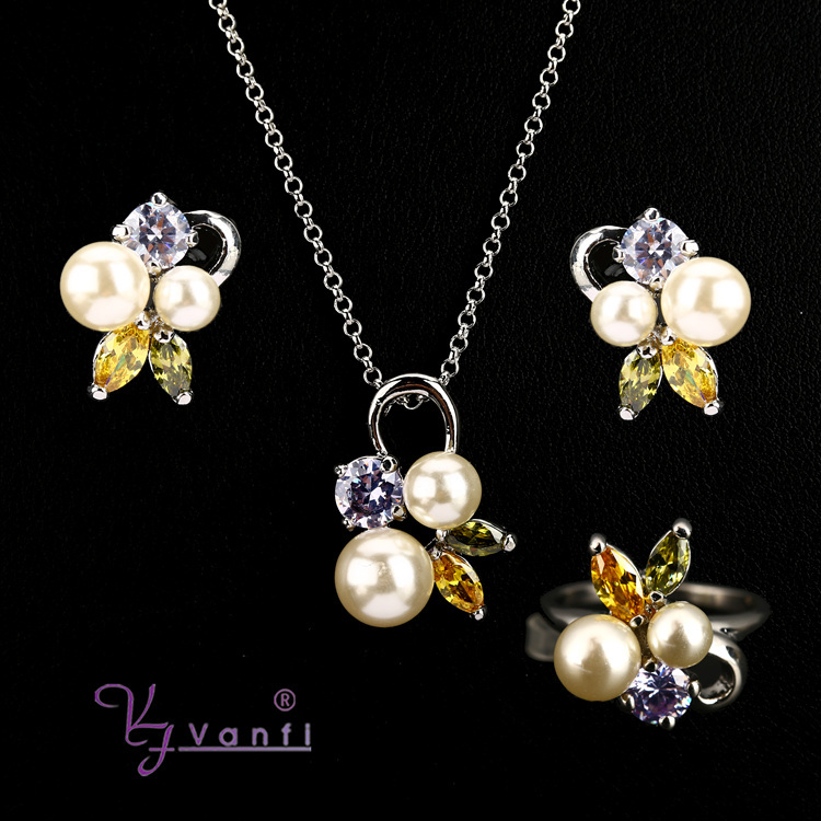 fashion big hyderabad imitation pearl white gold plated jewelry sets