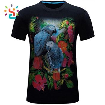 0b703a7f1603 Men s 3D digital printing Parrot Slim short-sleeved custom print birds  pattern Adult male organic