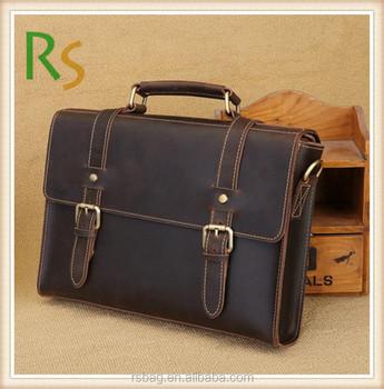Custom Handbag Classic Mens Genuine Leather Messenger Bags Hand Bag