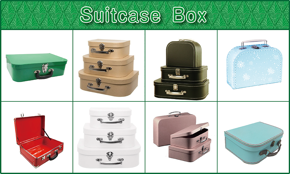 small cardboard suitcase gift case with handle