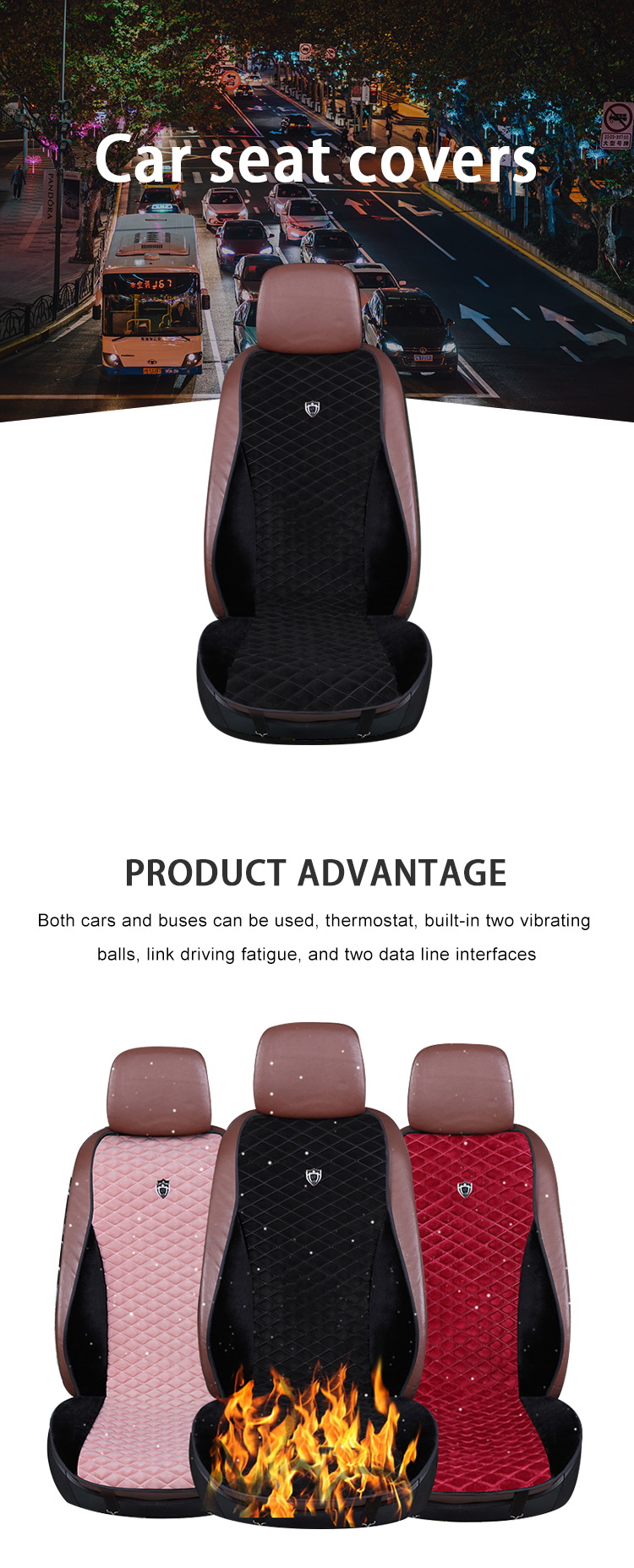 ZD-B-019  Car seat cover set black red velvet store tailor made heated covers best selling