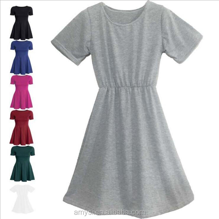 1.99 USD WQ021 High quality comfortable plus size cotton blank girls' t shirt night dress for Russia