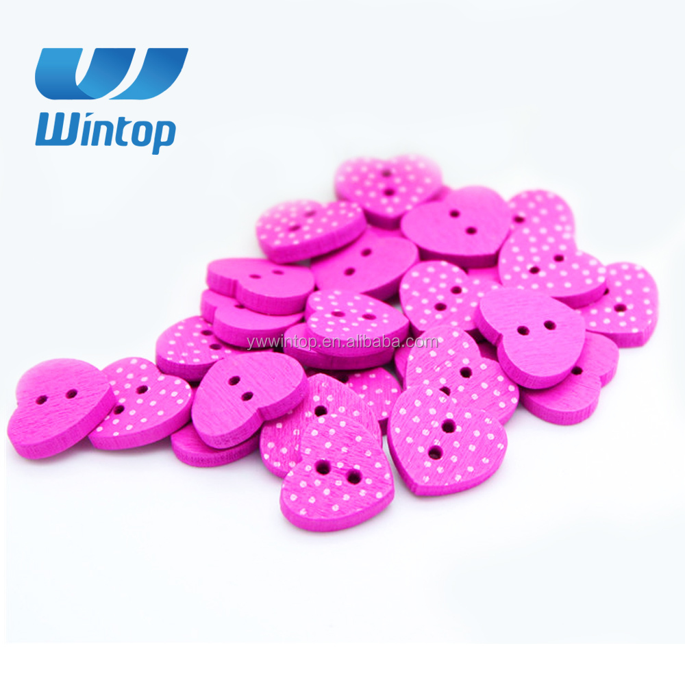 whoelsale 2 holes 15mm dot pattern pink heart button wooden