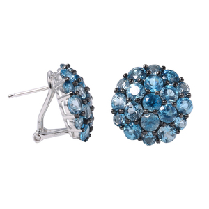 925 silver factory women earing natural topaz gemstone jewellery
