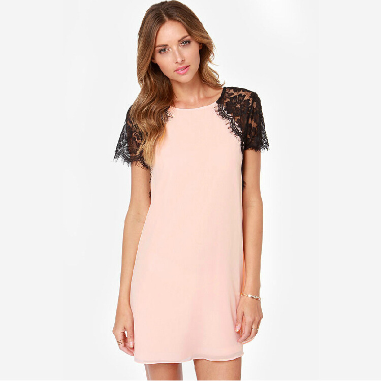 d13f69790 Get Quotations · Lace Patchwork Plus Size XXXL New Summer Dress 2015 Women  Casual Dress Sexy Dress Short Sleeve
