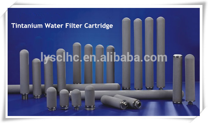 20 inch titanium series stainless steel sintered porous metal filter with 222 connector