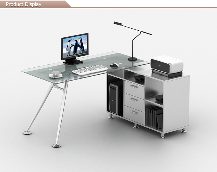 Hot Sell Office Furniture Glass Computer Desk With Cabinet