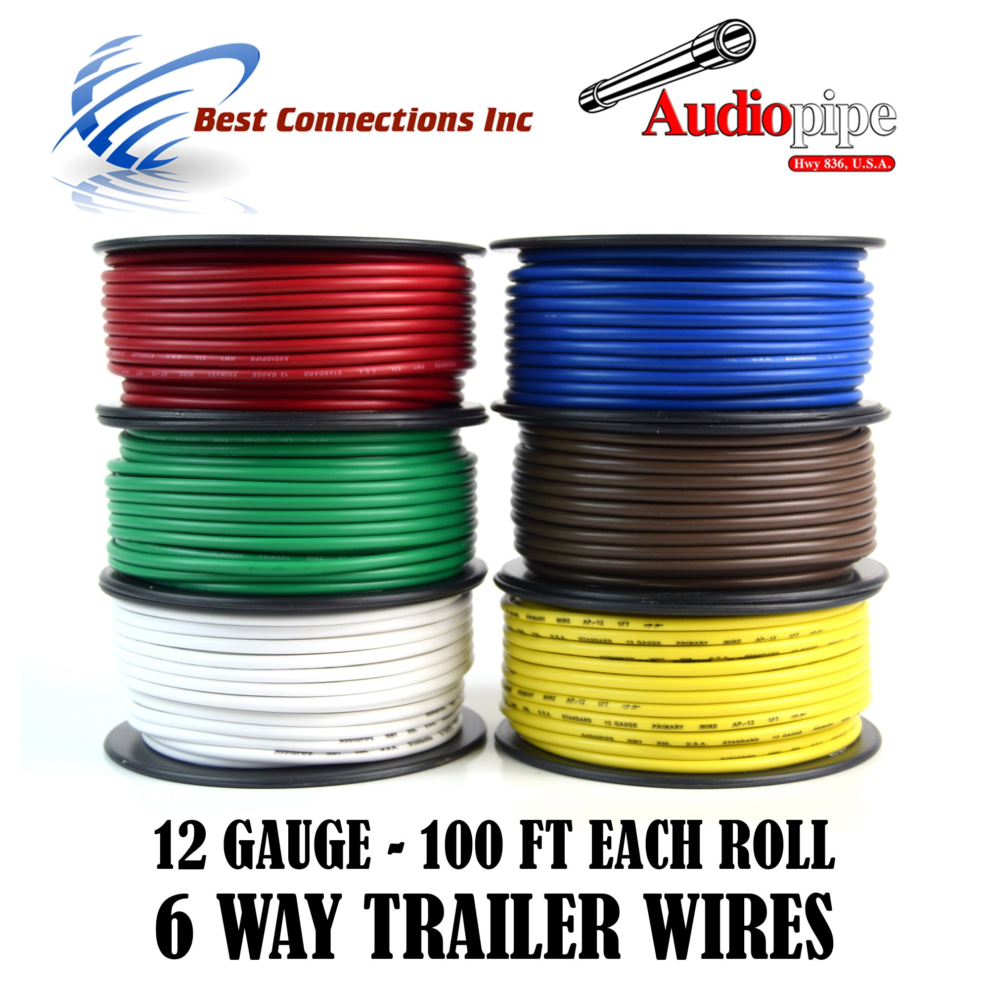 Get Quotations · Trailer Wire Light Cable for Harness 6 Way Cord 12 Gauge -  100ft roll - 6