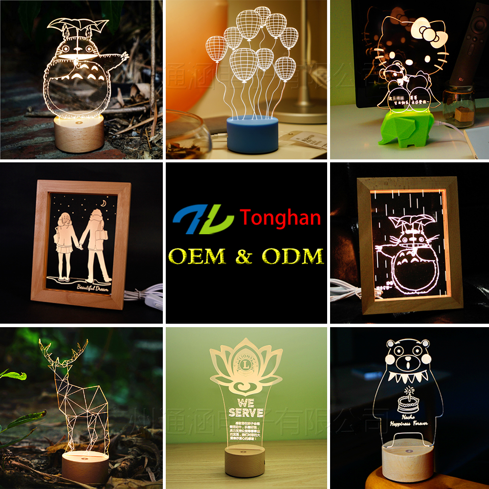 Promotional custom 3d led night light lamp OEM illusion acrylic lamp base for advertising / Christmas /gifts
