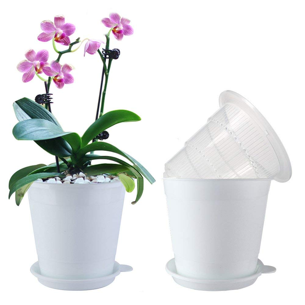 Meshpot 2Pcs 4 inches Clear Plastic Orchid Pots with Holes - 2 Inner Pot,2 Outer Pot,2 Tray (2PCS Clear White)