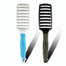 Air-cushioned wet detangle rubber handle hair brush for girls