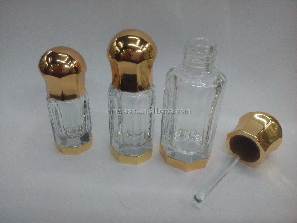 3ml 6ml 12ml Octagonal Perfume Oil Attar Bottle Wholesale Crystal Perfume Bottles With Glass
